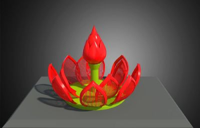 红色款含苞待放莲花雕塑设计