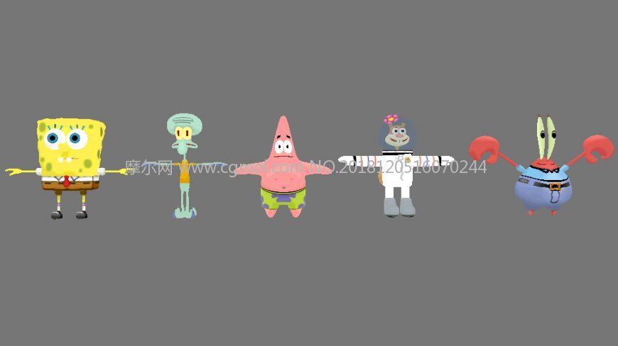 派大星,章魚哥,蟹老板,珊迪,奇克斯,海綿寶寶人物合輯,MB,FBX,OBJ格式