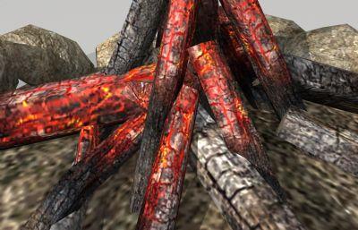 篝火,柴火堆,木炭,燃后的篝火堆maya模型,MB,OBJ,FBX三�N格式