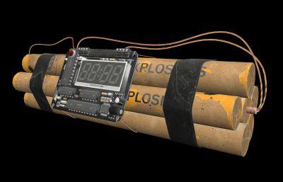 定时炸弹,C4炸弹,爆破,手雷,高清炸弹游戏模型,MB,MAX,FBX,OBJ多种格式