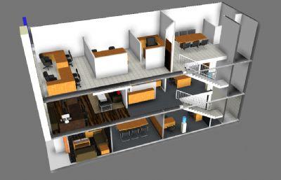 公司三层办公楼设计,办公室室内设计,MB,FBX,OBJ格式