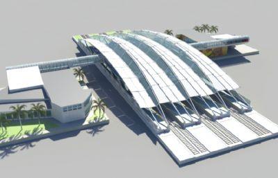 地铁站,火车站,高铁站,轻轨站MB,FBX,OBJ格式