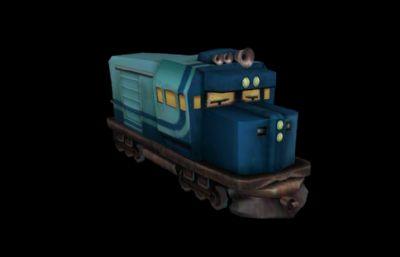 Q版卡通火车系列,火车头游戏MB,FBX,OBJ模型