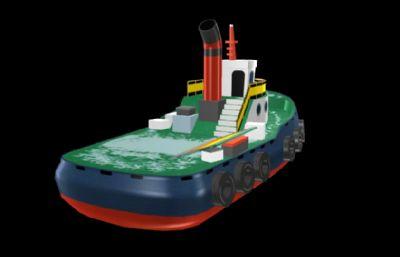 Q版卡通船,工程船,��\船游�蚰P�,MB,FBX,OBJ多�N格式