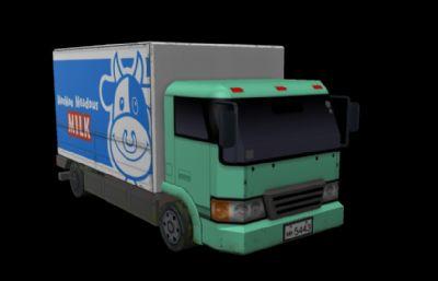 Q版卡通汽车,牛奶运输车游戏模型,MB,OBJ,FBX三种格式