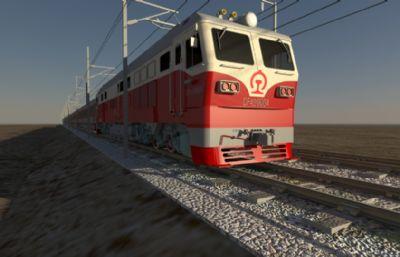 影视级老式红皮火车,带火车驶过动画(车头,车厢,铁轨轨道和电缆都很齐全)