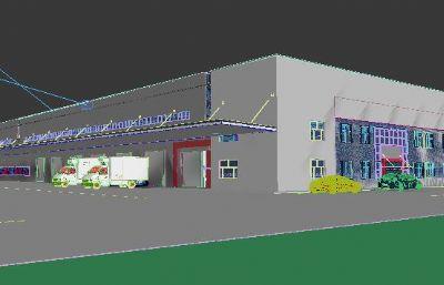 现代厂房仓库max2015模型
