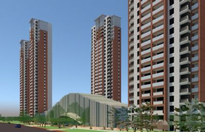 高层小区住宅su模型
