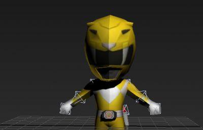 Q版假面超人,金刚战士黄色款低模