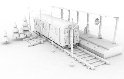卡通火车站C4D模型
