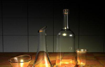 玻璃瓶,玻璃杯,器皿�o物maya模型