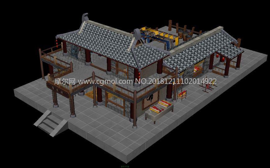 古代布店,染坊,布庄,布衣坊maya游戏场景模型图片