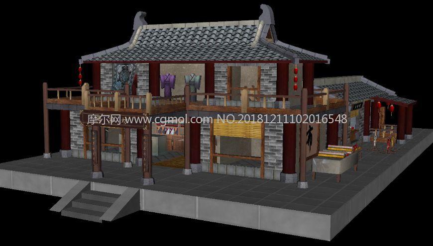 古代布店,染坊,布庄,布衣坊maya游戏场景模型