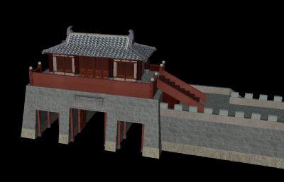 正阳门,古代城楼,门楼,城墙maya模型