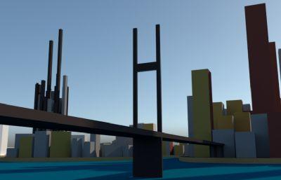 城市建筑简模su模型