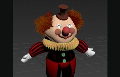 卡通小丑MAX模型,�Р馁|, �好骨骼
