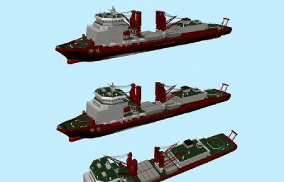 雪龙号破冰船,考察船,舰船max模型