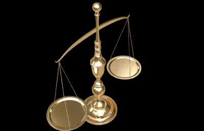 金色司法天秤C4D模型