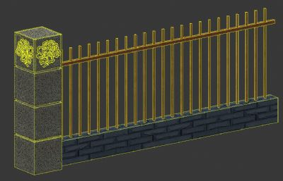 新中式围墙标准段max模型