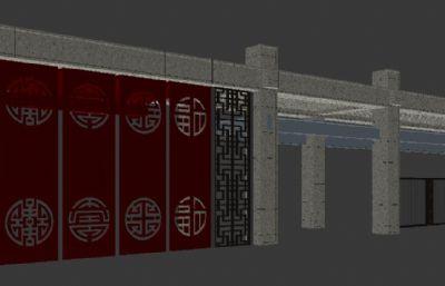 中式小区大门,门头max模型