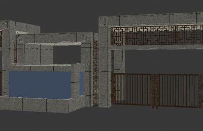 新中式小区大门max模型,门头模型