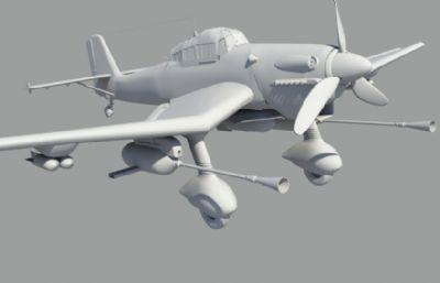 斯图卡大炮鸟二战战机obj模型
