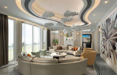 現代大客廳max模型