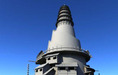 中式山�w古代建筑,吊�_��,��塔大型科幻maya�鼍霸次募�