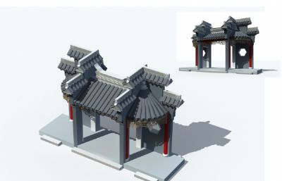 古建筑景门入口门头max模型