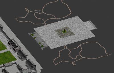 西安大雁塔及周��建筑max源文件模型