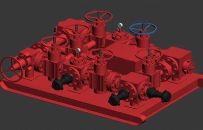 石油管道连接头,连接阀max模型