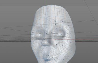 科幻恐怖人脸面具C4D模型