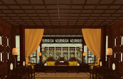 中式古代议事大厅,客厅maya精模