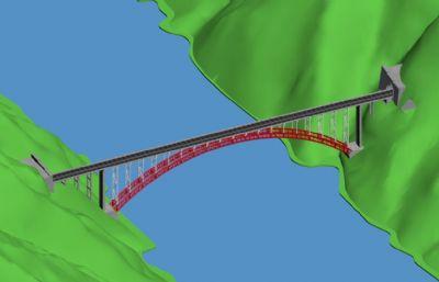 �M跨山�w拱形�混��max模型,�]有�D中的山�w模型