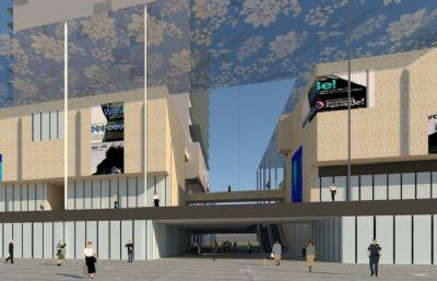 商业综合楼,购物中心su模型