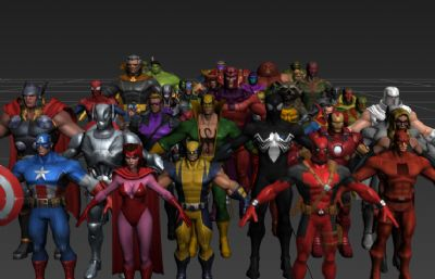 灭霸,红坦克,万磁王,憎恶,惊奇队长,罗南等漫威超级英雄max模型集合