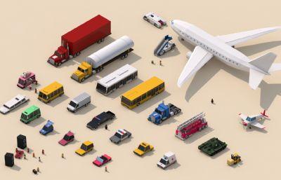 LowPoly低面汽车,消防车,工程车,飞机等模型,C4D,FBX,OBJ等格式