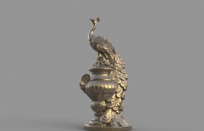 花瓶孔雀��g雕塑STL模型