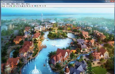 欧式风情度假村,度假区,小区商业街max模型,无绿植,无喷泉,船只(网盘下载)