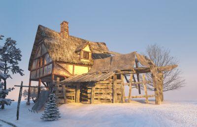 古建筑中世�o民居建筑3D模型(�W�P下�d)