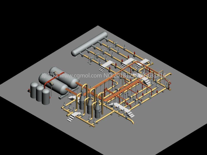 石油天燃气站管道走向max模型