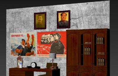 革命�r期政府�k公室一角,斯大林,毛主席��像max展�[模型