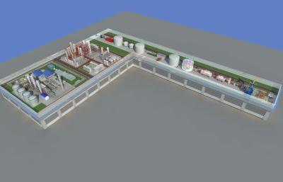工业甲醇制造工厂鸟瞰沙盘max模型