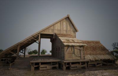 古代木板房屋木屋建筑3D模型(�W�P下�d)