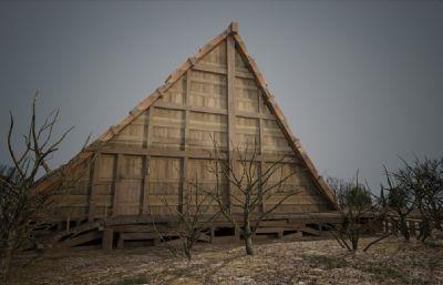 特色的中世纪古代?#26223;?#25151;子建筑3D模型(网盘下载)