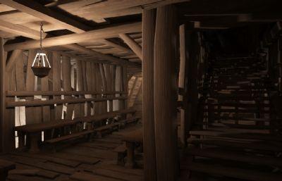 古代���h室,��所�炔�鼍�,木板建筑3D模型