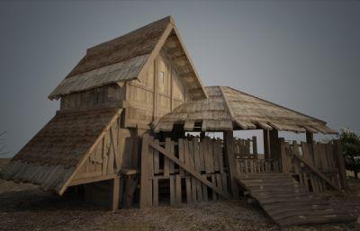 古建筑?#26223;?#26448;质破旧的房子3D模型(网盘下载)