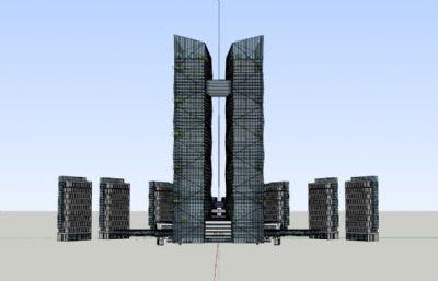 商务办公楼整体规划su模型