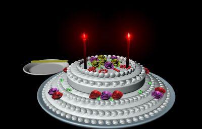 蛋糕,跳�拥�T火maya2009模型
