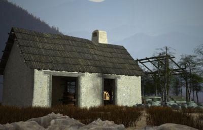古建筑破�f的民工房子,民居3D模型(�W�P下�d)
